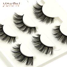 YOKPN Eyelash Eongated 3D Mink False Eyelashes Natural Crisscross Messy Soft Multilayer Fake Eyelashes Stage Makeup Lashes