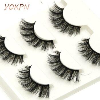 YOKPN Eyelash Eongated 3D Mink False Eyelashes Natural Crisscross Messy Soft Multilayer Fake Eyelashes Stage Makeup Lashes