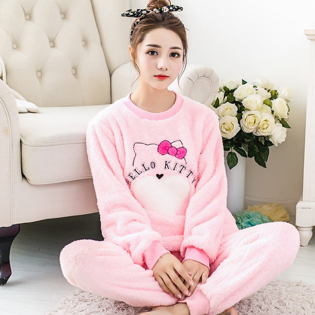 hot sale Women Pyjama Sets Thicken Flannel Pajama Sets winter cartoon Thick  Warm Lovely pink Costume Nightgown Sleepwear suits 57358e7e5