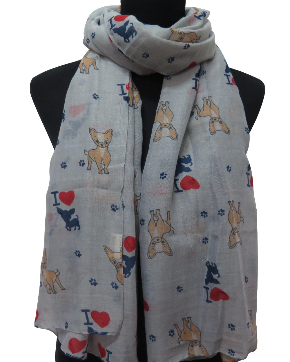 10pcs/lot Chihuahua Dog  Animal Print Women's Long Scarf, Free Shipping