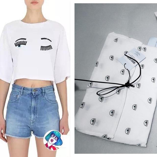 T-shirt with white embroidery Chiara Ferragni Discount Official wqb1VRKJBZ