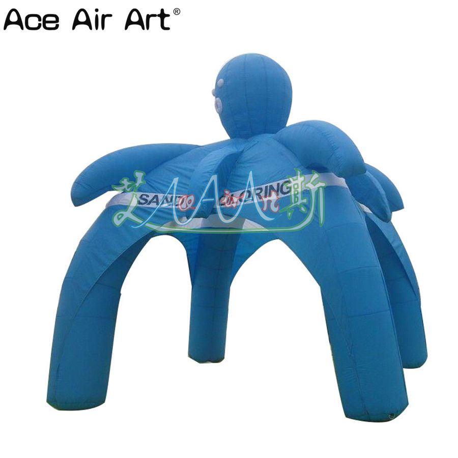 Blue Inflatable Spider Event Tent With 4 Legs, Inflatable