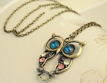 2019 Glaze Color Drop Owl Pendant Fashion Retro Necklace Chain Jewelry Gift Wholesale(China)