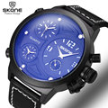 SKONE Brand Men's Multi-function Quartz Sport Wristwatches Big Round Face 3 Time Zone Watches Men Fashion Casual Army Military