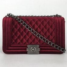 Mujeres Messenger Bags Marca Invierno Lujo Mujeres de Los Bolsos Diseñador Velvet Pequeña Cadena Del Hombro Crossbody Bolsas Para Mujeres 8859