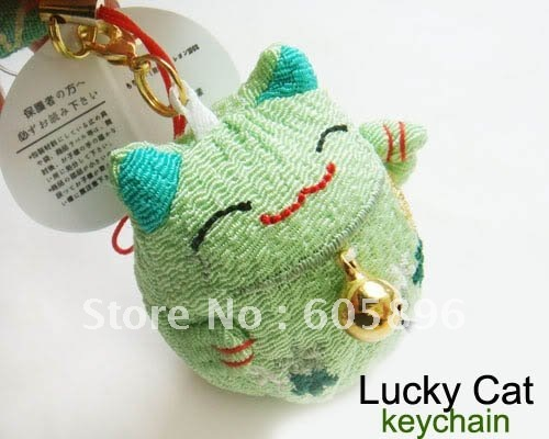 Christmas gifts -8pcs/lot 8 colors 4*4.5cm Plush lucky cat  keychain/key ring/mobile phone strap