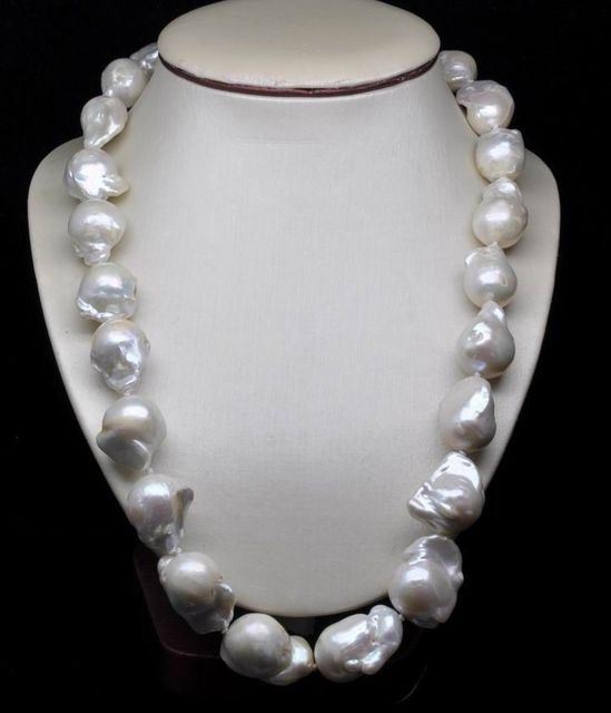"""100% Selling Picture full GW Huge Size 18-23MM Natural Shape Pearl Necklace 20"""" Long"""
