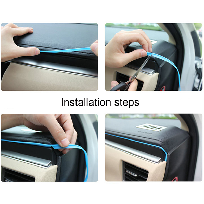 5M Soft PVC Car Styling Interior Decoration Thread Insert type Air Outlet Dashboard Decoration Strip Accessories BJ