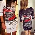 Цветочные Печати Bodycon Платье Женщины Платье О-Образным Вырезом половина Рукава вязание Плотно Моды Случайные Платье Халат 2016 Летнее Платье