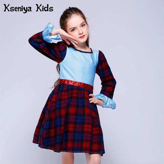 Kseniya Kids Spring Girls Long Sleeve For Party Wedding Dresses For Girls Baby Girl Clothes Plaid Lace Princess Birthday Dress