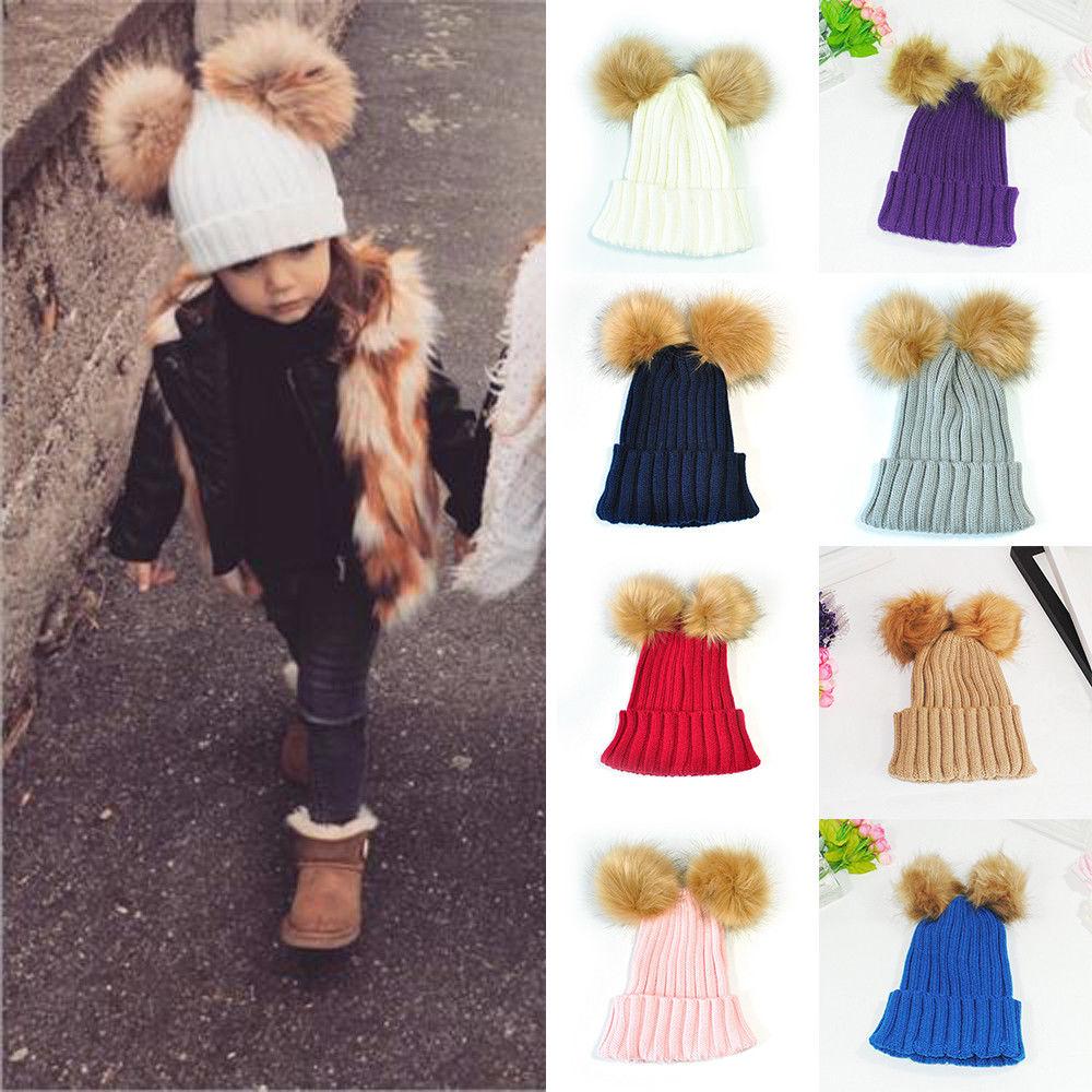 Cute Kids Baby Girls Boys Winter Warm Knitted Wool Hat Beanies Hair Ball Hat Crochet Cap New 2-12 Years