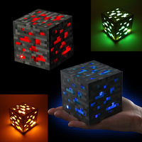 4 Colors Minecraft Light Up Greenstone Orangestone Ore Square Minecraft Night Light LED Figure Toys Light