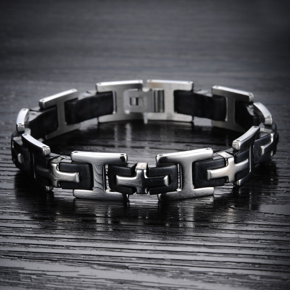 TrustyLan Classic Cross Mens Bracelets Stainless Steel Silicone ...