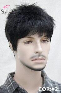 Image 2 - Короткий полосатый полностью синтетический парик для мужчин, мужские волосы, флисовые реалистичные парики