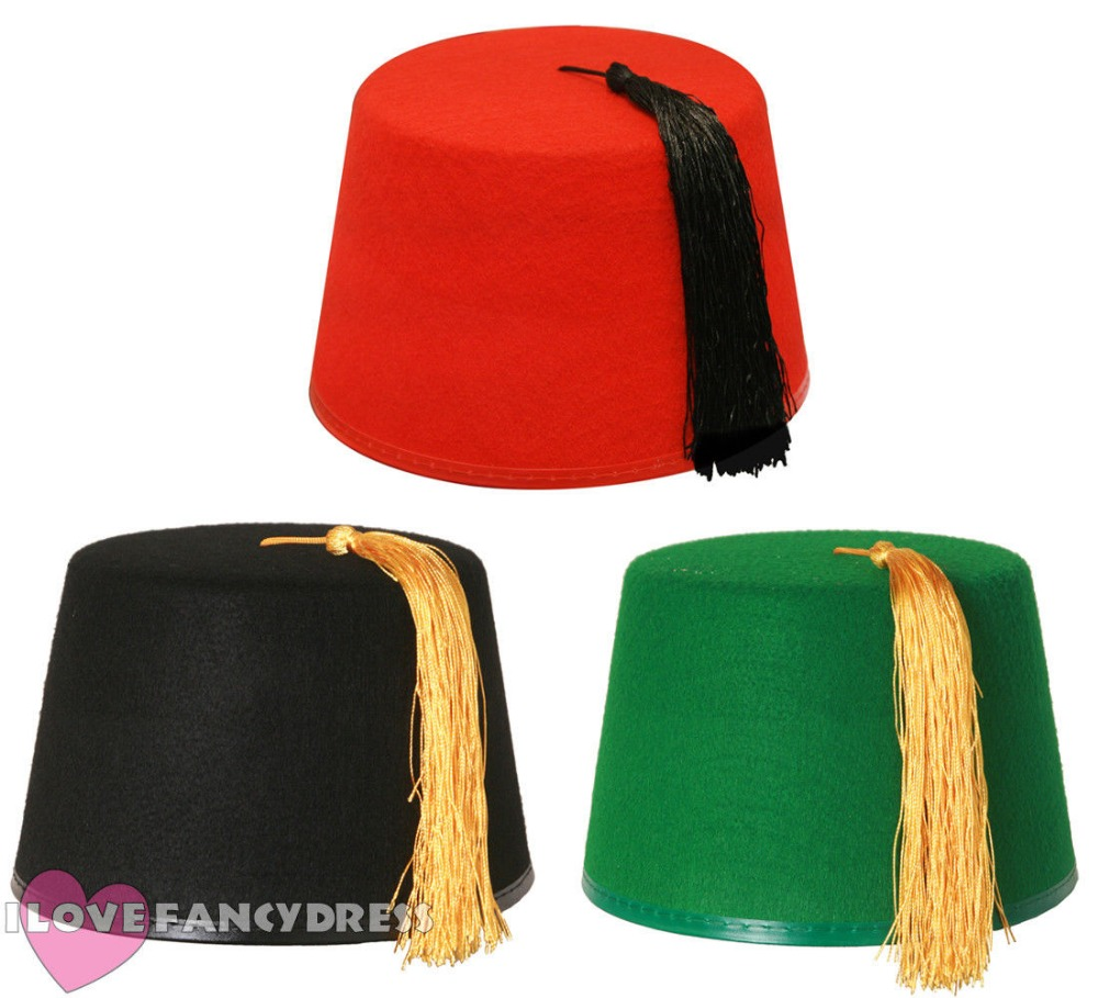 FAST SHIPPING QUALITY ADULT BLACK GREEN RED FEZ HAT WITH GOLD BLACK TASSEL TRA MOROCCAN FANCYDRESS ACCESSORY TOMMY COOPER STYLE