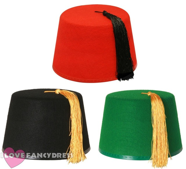 879aab858045c FAST SHIPPING QUALITY ADULT BLACK GREEN RED FEZ HAT WITH GOLD BLACK TASSEL  TRA MOROCCAN FANCYDRESS ACCESSORY TOMMY COOPER STYLE
