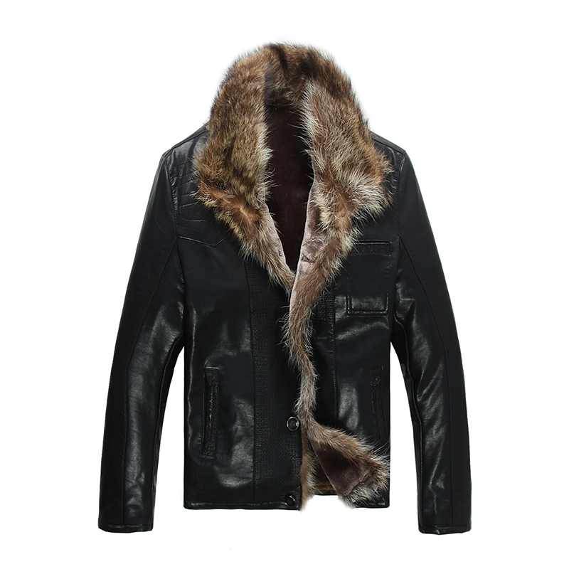 FreeShiping Hot Sale Fashion Men's Coats Imitation Leather Jacket  Short Raccoon Fur Collar Leather Jackets Men High Quality