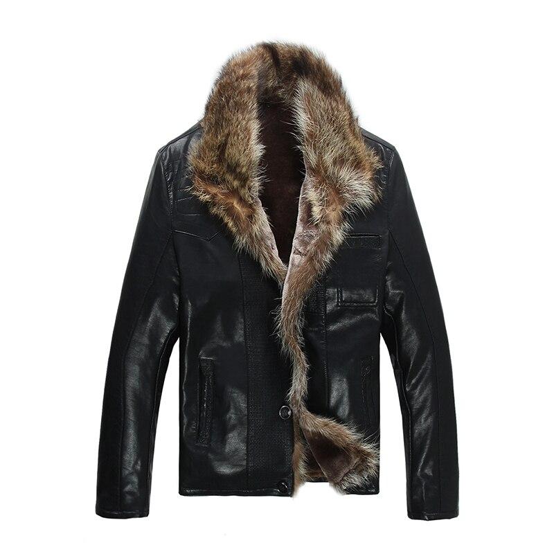 FreeShiping Offre Spéciale Mode Hommes de Manteaux Imitation Cuir Veste Courte Fourrure De Raton Laveur Collier En Cuir Vestes Hommes Haute Qualité
