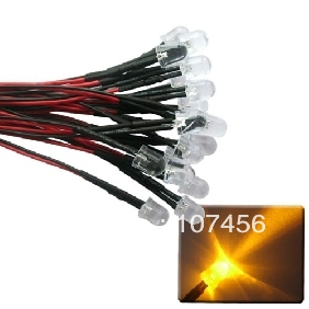 50pcs 10mm Yellow LED Lamp Light Set 20cm Pre-Wired 12V Free Shipping