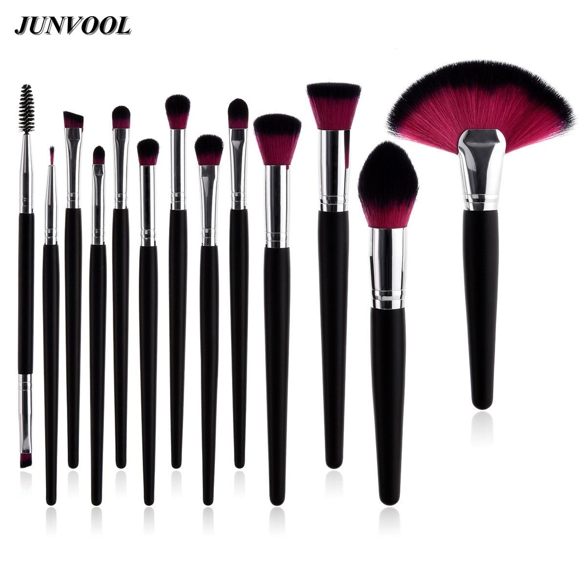 Pro 13Pcs Eye Makeup Brushes Kit Power Foundation Beauty Cosmetic Tools Double Ended EyeShadow Eyelash Blush Blending Fan Brush