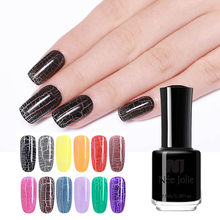 Nee Jolie Kresek Cat Kuku Hitam Gray Series Retak Colorful Nail Art Pernis Manikur Kuku Seni Dekorasi Polandia(China)