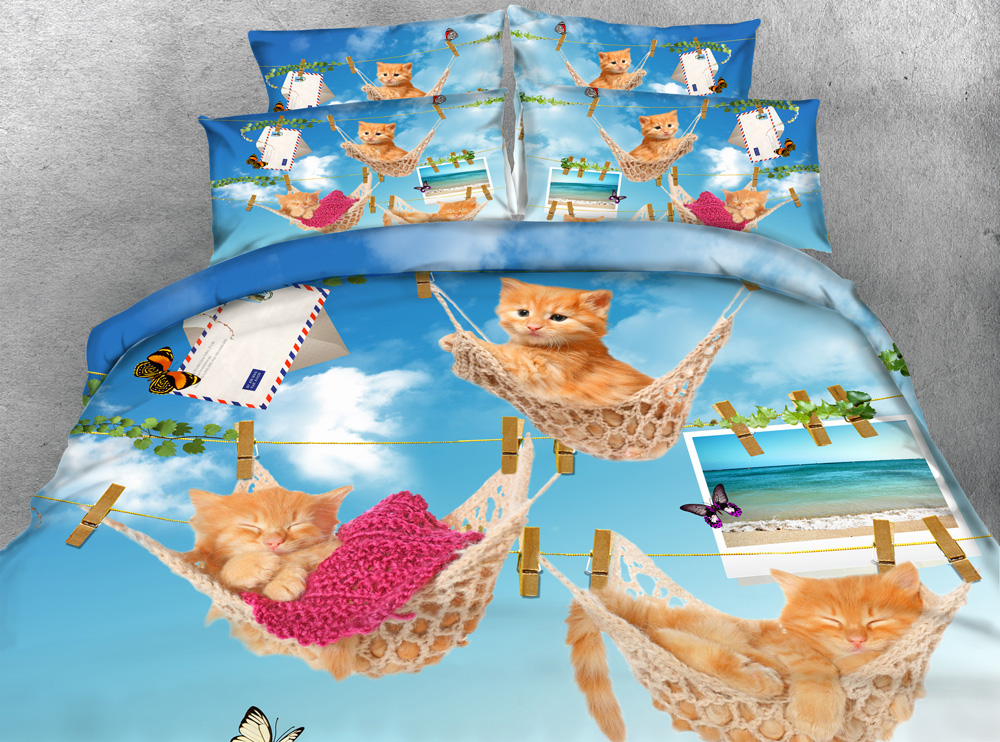 jf306 funny cats print quilt cover set 4pcs kittens under blue sky kids duvet covers bedding sets queen king size
