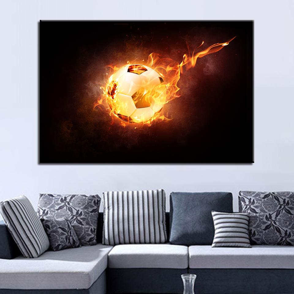 Canvas HD Prints Pictures For Living Room Wall Art 1 Piece/Pcs Flame Football Painting Soccer Sports Poster Home Decor Framework
