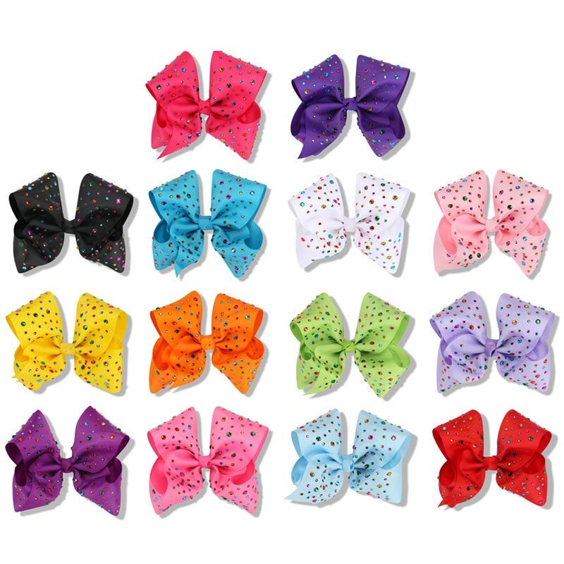 50pcs Girls 8 Hair Bows Alligator Clip With Rainbow CZ Rhinestone Kids vara bow Dance Party