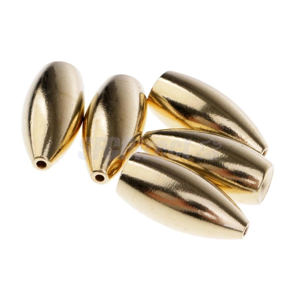 10x Brass Weights Drop Shot Slider Sea Fishing Snag Sinkers Gold