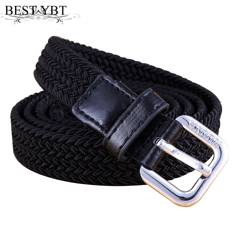 Best YBT Unisex Canvas Belt Alloy Pin Buckle Belt Parent-child Suit  Weaving Casual Simple Boys And Girls Elastic Force Belt