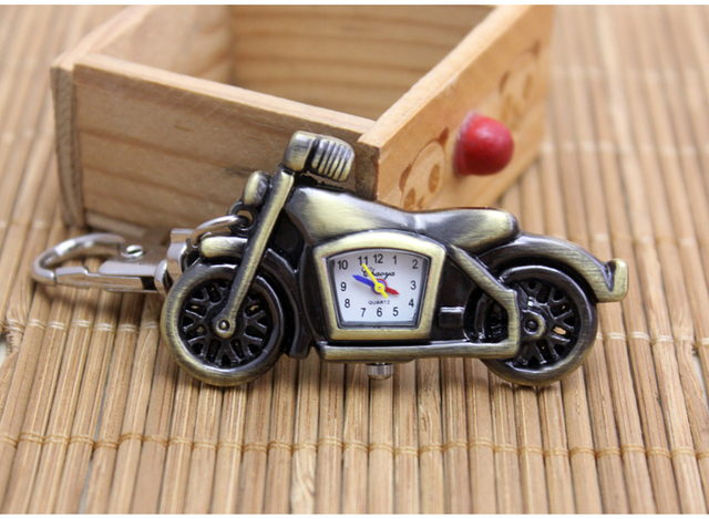 Free shipping Fashion Bronze Motorcycle Motorbike Pocket Watch keychain Mens Wat