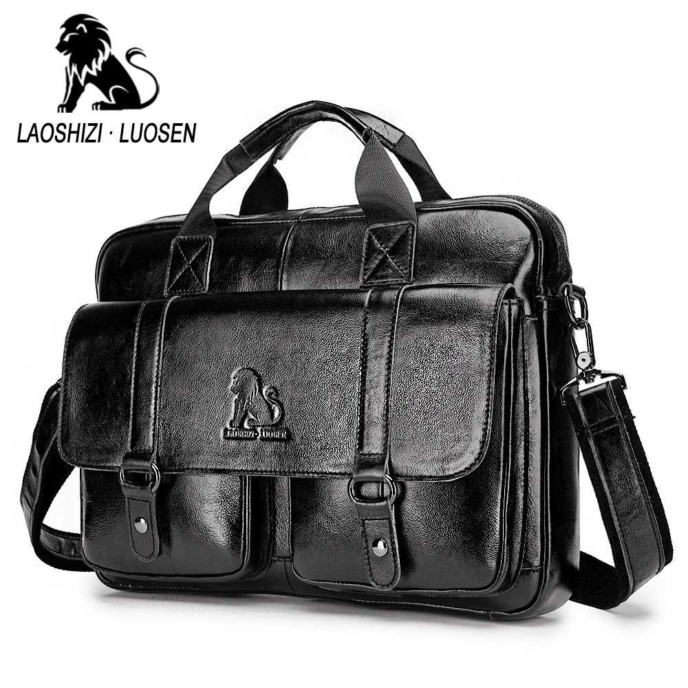 Image 2 - Business Messenger Bag Genuine Leather Men Shoulder Bag Vintage Male Casual Totes Handbag Cowhide Crossbody Bag Men-in Crossbody Bags from Luggage & Bags