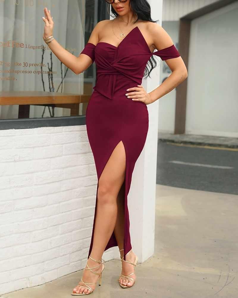 2019 Frauen Sexy Off Schulter Geraffte Ontwerp Strik Schlitz Kleid Weibliche Petersdom Nacht Club Party Kleid Elegante Maxi Lange Kleider