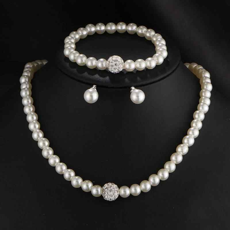 2019 Women's 3 Piece Set / Fashion Simple Pearl Necklace Bracelet Earrings Bridal Set Pearl Jewelry Parure Bijoux Femme