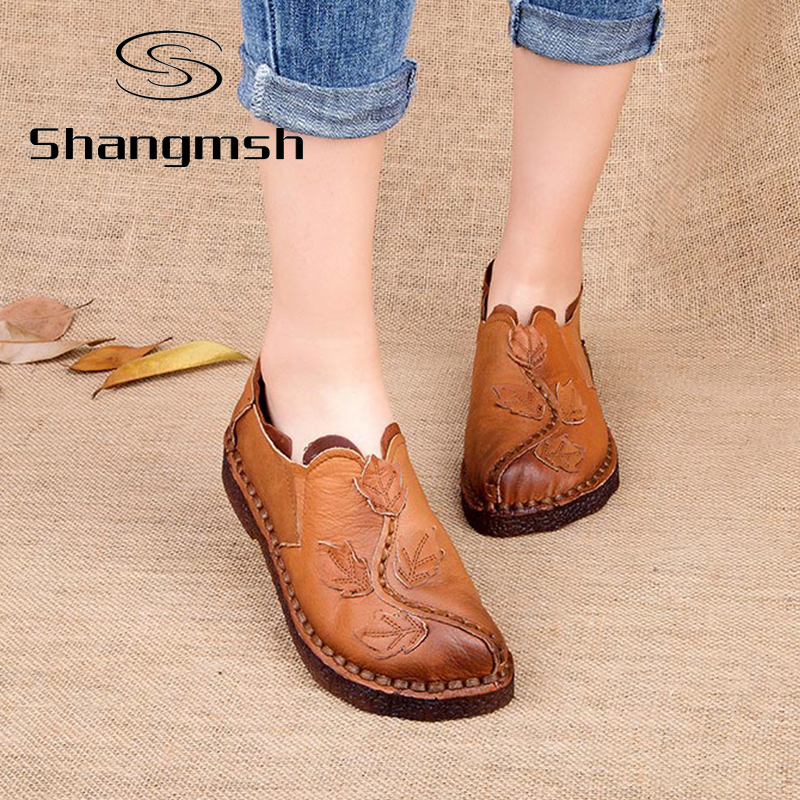 Handmade Folk Style Flats Casual Shoes Genuine Leather Lady National Soft Bottom Shoes Loafers
