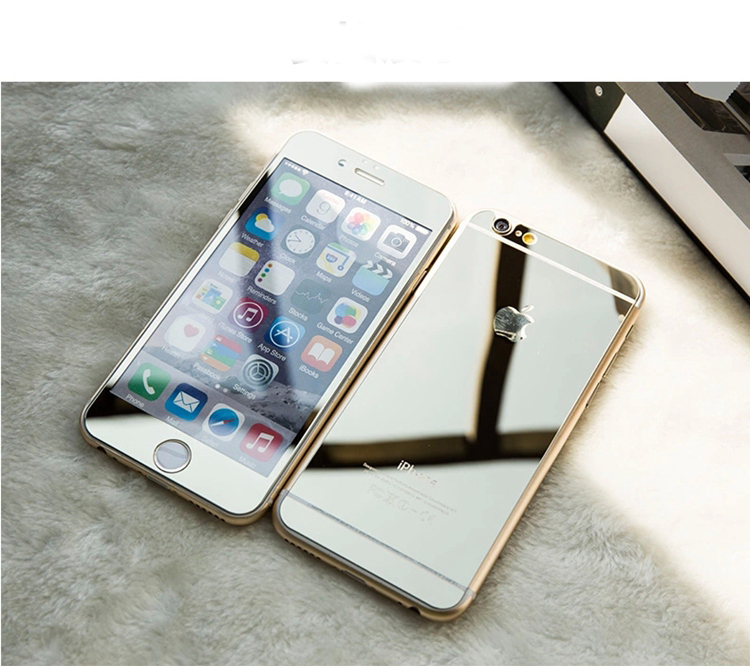 2pcs Colored Tempered Glass For Iphone 6 Plus Front Backtoughed Mirror Screen Protector Gold Silver Color In Protectors From