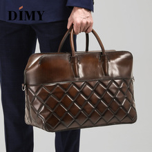 DIMY Hand Patina Dutch calfskin Mens Briefcase Genuine Leather Fashion travel Bag Handbag Male Business Tote Bags Laptop 15 Zip