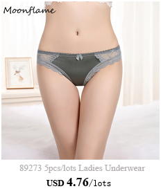 Moonflame 5 pcs/lots New Arrival 2020 Sexy Lace Underwear Cotton Women Briefs Panties 89230