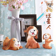 DMLS Resin Dog Figures Figurines Artware Resin Cute Pup Toy Ornaments Kid Doll Home Decor Free Shipping