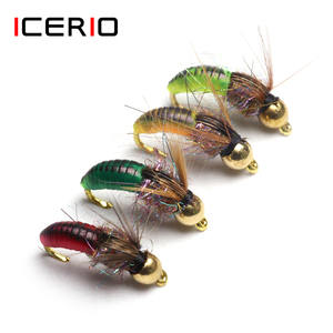 ICERIO 8PCS #12 Brass Bead Head Fast Sinking Nymph Scud Bug Worm Flies Trout Fly Fishing Lure Bait