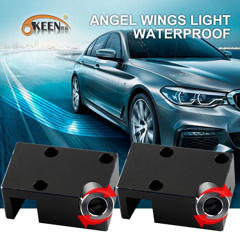 OKEEN adjustable White/ RGB Angel Wings led Car Door Light of welcome lights Projector with angel Ghost Shadow Puddle lamp sunset horseman gobo door led projector light welcome lamp cree q5 ultra bright puddle light for lincoln corvette vw dodge 1527