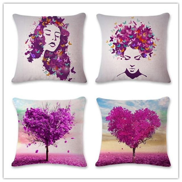 Popular Purple Trees Design Cushion Covers Purple Butterfly Portraits  Pillowcase Car/ Chair/ Sofa Pillow