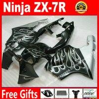 Hochwertige Verkleidungen für Kawasaki Ninja ZX7R 1996-2003 96-03 zx7 silber flammen in schwarz karosserie verkleidung kits RT594