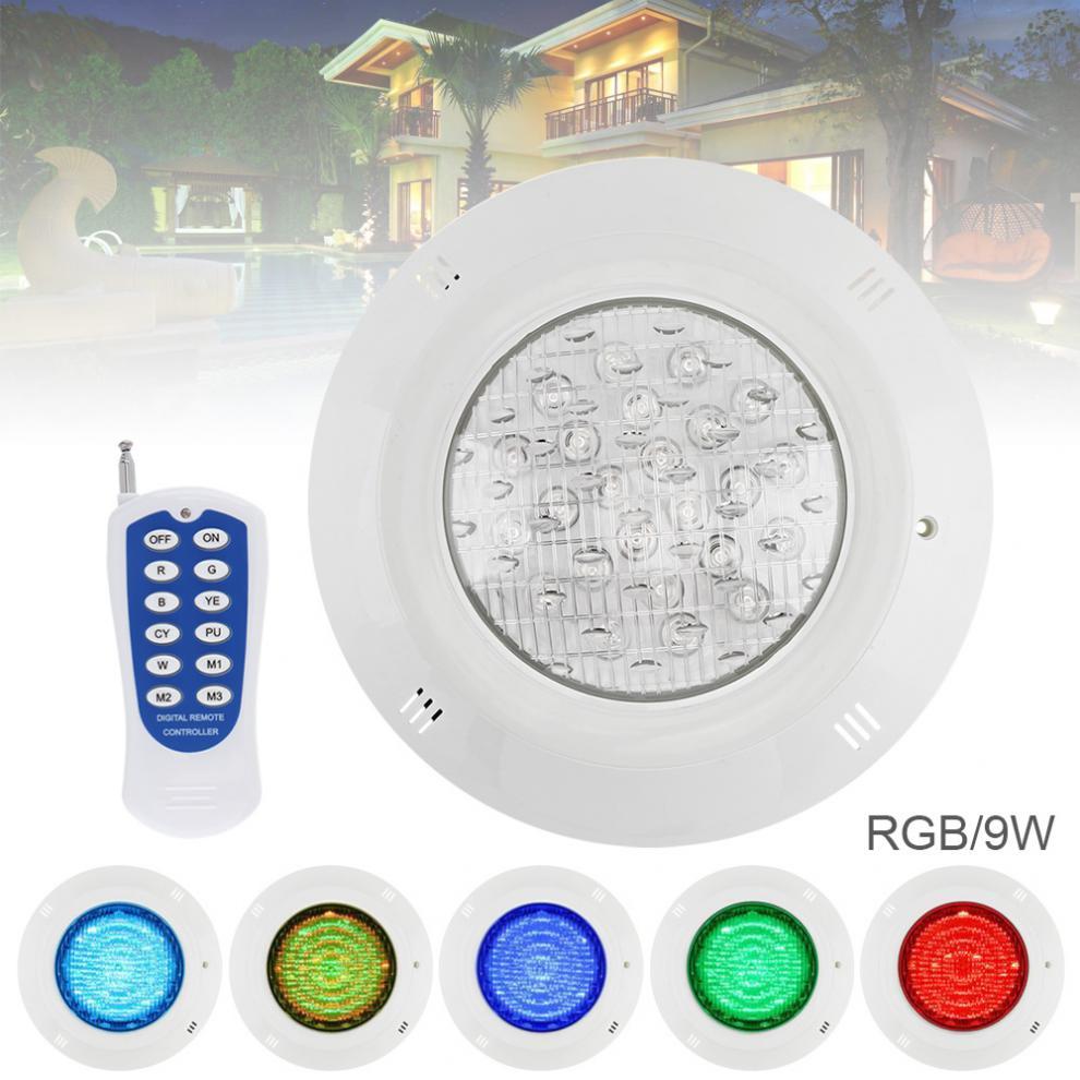 9 LED 12V 9W LED RGB piscine lumière RGB 3000K télécommande étanche lumière sous-marine multicolore lumière pour piscine