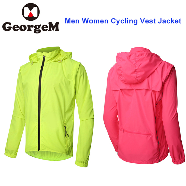fbc05be03 GeorgeM Pink Jacket Windproof Detachable Long Sleeve Vest Water resistant  Men Women Jacket Outdoor Sport Cycling