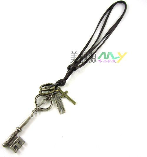 Men choker New Fashion,Antique bronze plated leather rope necklace,Key,Cross,Circles,young men,cow boy,punk,Factory price