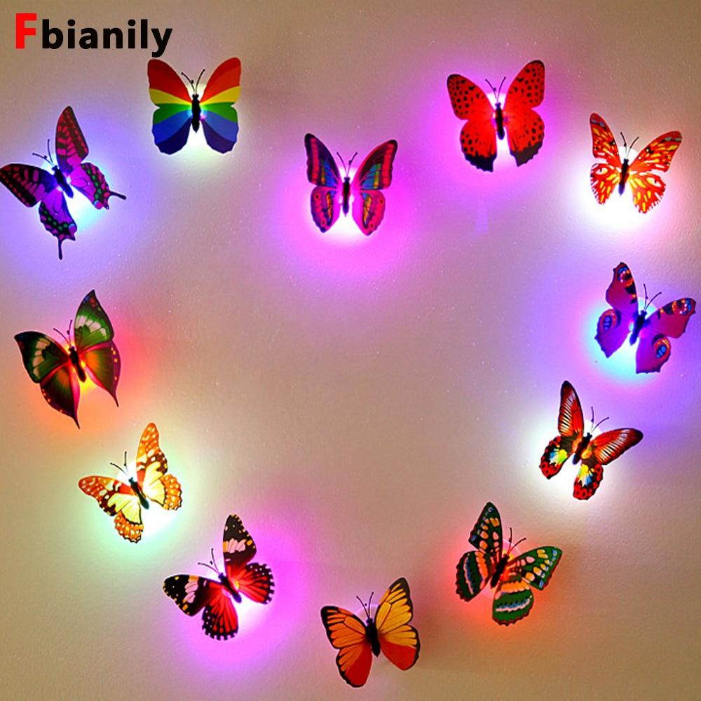 Color Light Butterfly Wall Stickers Easy Installation Night Light Home Living Kid Room Fridage Bedroom Decor
