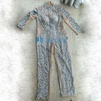 Ручной работы кристалл комбинезон с блестками женская сексуальная обнаженная сетка бисер комбинезон танцевальная одежда женская одежда д