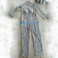 Hand sewn crystal sequins Jumpsuit Women's sexy Nude Mesh beads Bodysuit Costume Dance Stage Wear Female Singer Outfit