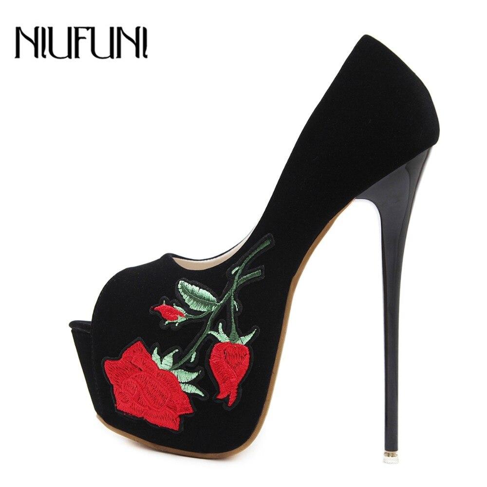 533c9bcfa04fbf Chaussures Pompes Des 2018 Haute Super forme Brodent Femme Mince Rétro Peep  Black Sexy Glissement Nouvelle ...
